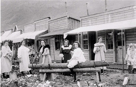 Group of working women on the streets of Dawson Yukon