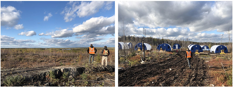 Fisher Zone of Splays looking east towards drill in background (left) – Fisher Exploration Camp (right)